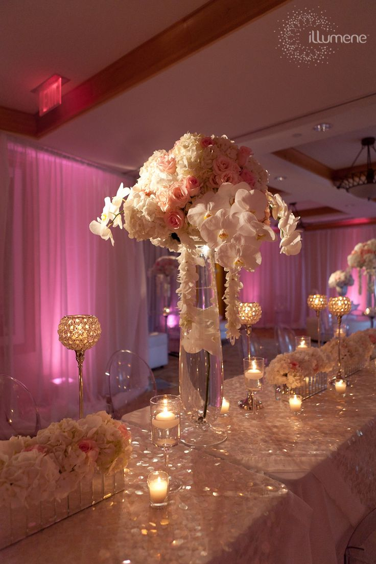 Romantic tablescape with roses & orchids.