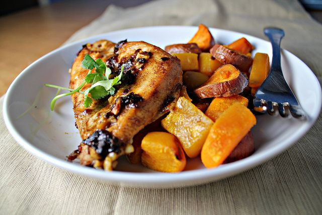 Spicy Honey Chipotle Squash And Sweet Potatoes Over Brown ...