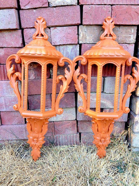 Orange Wall Sconces Faux Lantern Sconces Burnt Orange Home Decor A