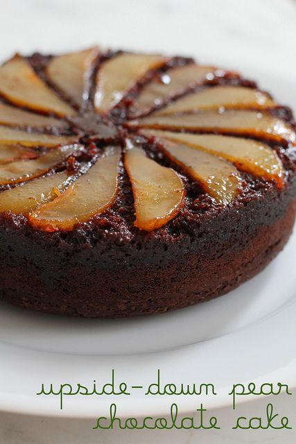 upside-down pear chocolate cake by awhiskandaspoon, via Flickr
