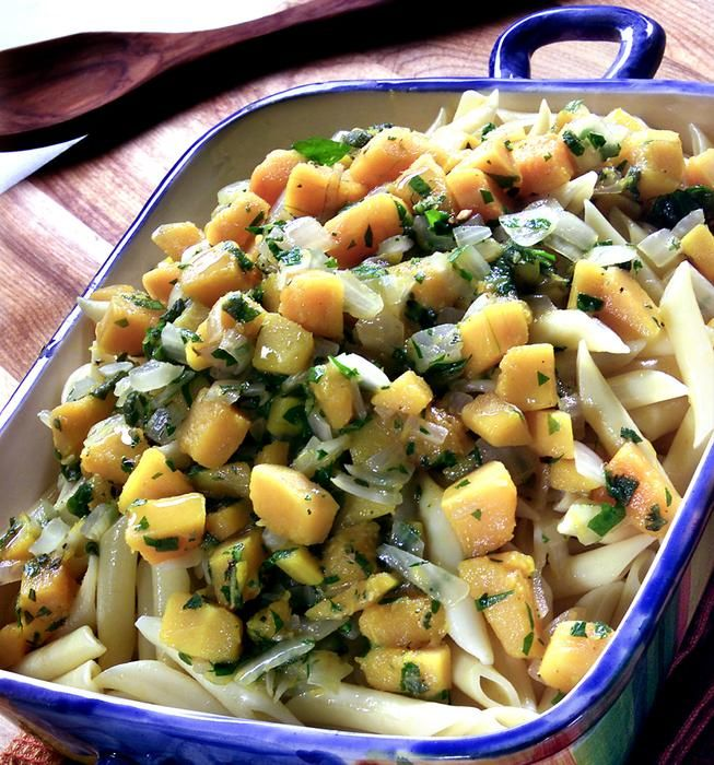 Penne with butternut squash, onions, sage and Parmesan | Recipe
