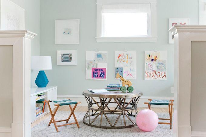 Simple kids area.  Paint is Sherwin Williams Sea Salt  (Emily Henderson)