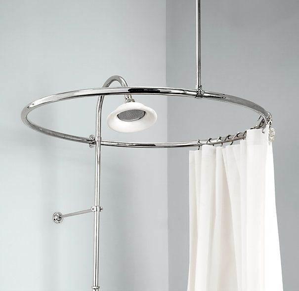 Round Shower Curtain Rod Spa Inspired Bathrooms Pinterest