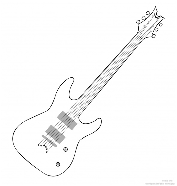 Barbie Guitar Coloring Page