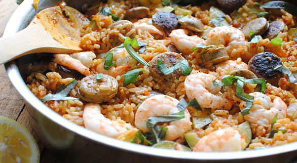Late Summer Paella with Zucchini, Shrimp and Chicken Sausages | Taste ...