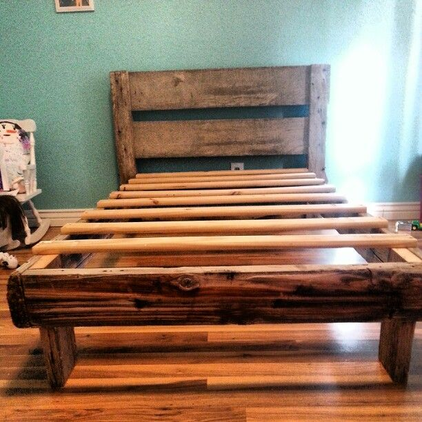 Twin bed frame made from barn wood. | Barn wood & Tin ...