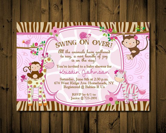 beats wireless by dr. dre Jungle Baby Shower Invitations Whimsical Monkey Girl Giraffe Zebra YO