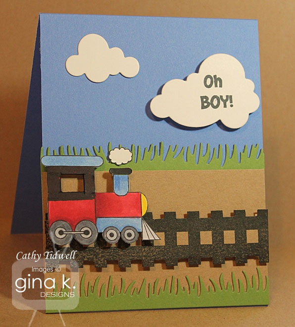 ... baby shower or boy's birthday. Card by Cathy Tidwell. Stamps from Gina