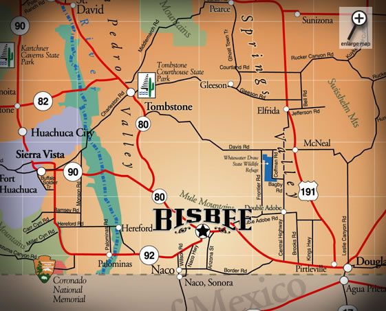 Map Iof Bisbee  BisbeeTombstone Arizona  Pinterest
