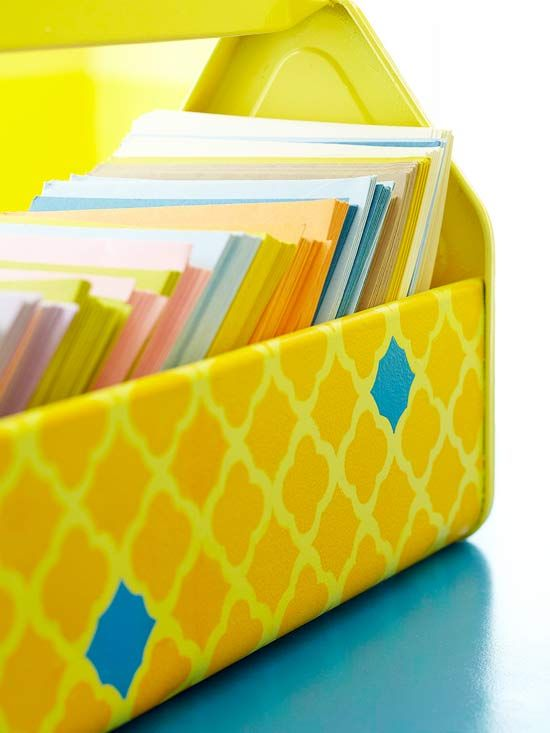 Keep papers organized in this DIY painted caddy. Get the free stencil and instructions here: http://www.bhg.com/decorating/paint/projects/paint-projects-ideas-and-patterns/?socsrc=bhgpin052112#page=14
