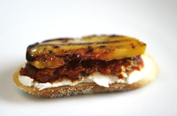 Roasted Red Pepper & Chipotle Crostini with Grilled Peaches and ...