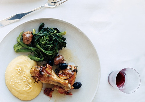 Roast Chicken with Pancetta and Olives, Broccoli Rabe with Sweet ...