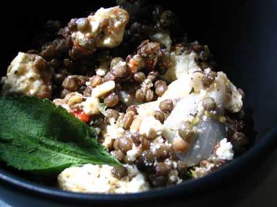 puy lentils, feta and roasted red pepper salad