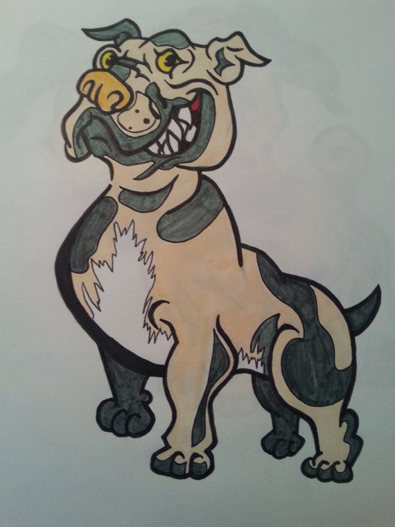 Cute Pitbull Dog Cartoon Drawing