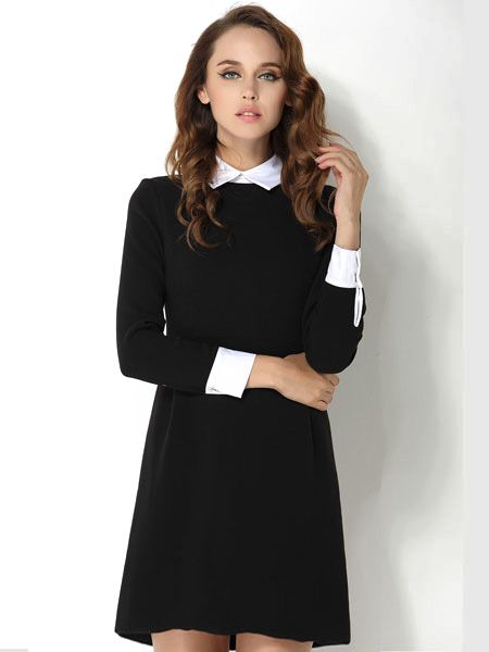 Fashion Elegant Turn-down Collar Dress