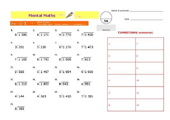 Mental Math Worksheets – Mental Maths Worksheets Year 5