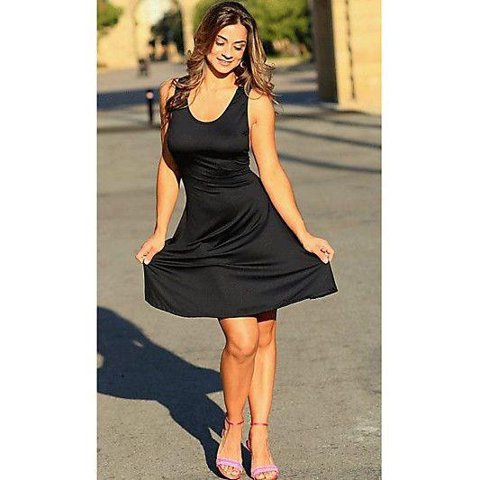 Modern black a line scoop wide straps short poly spandex dress
