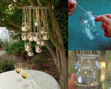 Frascos reciclados en decoración