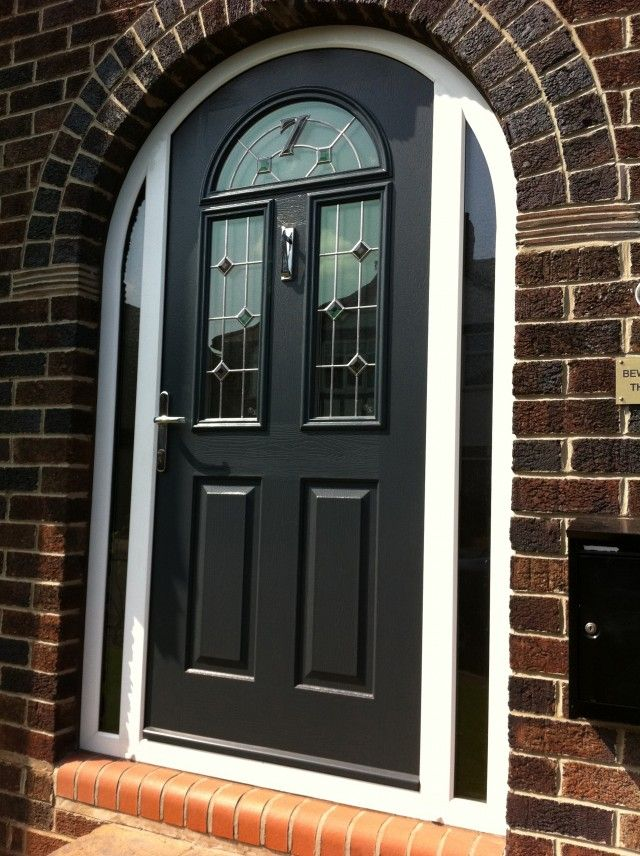 Large arched door composite home pinterest for Composite front doors