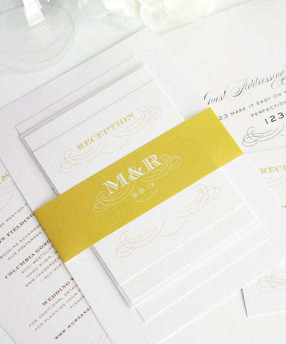 Gold Wedding Invitation, Classic Wedding Invitation - Antique Monogram ...