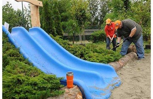 Backyard Hill Slide : Hill Slide Planting  Gardens