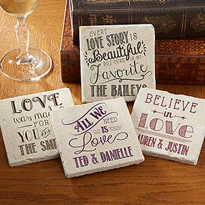 """OMGGGG!!! I'm obsessed with these """"Love Quotes"""" personalized stone coasters! They come in all different color options and 8 different love quotes that you can pick from ... they're absolutely stunning!! I may have to buy 2 sets to get all 8 quotes! Great Wedding Gift idea, too!"""