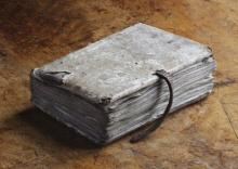 Medieval manuscript of William Brito's Expositiones Vocabulorum Bibliae at Lacock Abbey, Wiltshire.