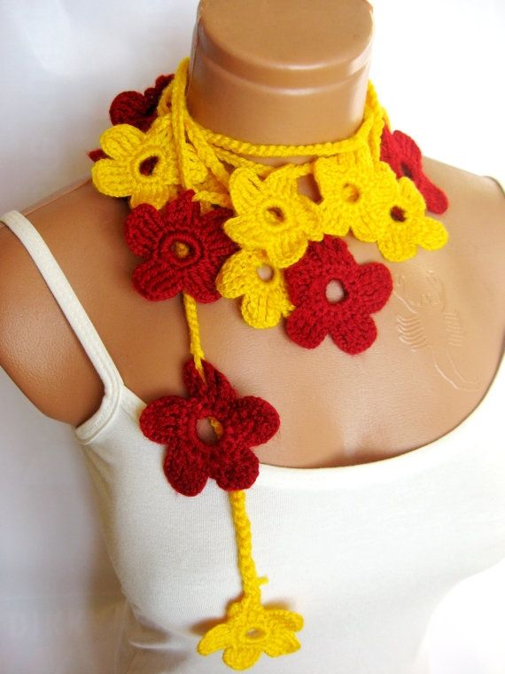 Yellow, Red, crochet Flower Lariat Scarf. Fashion Flower Scarves, Necklace... by WomanStyleStore