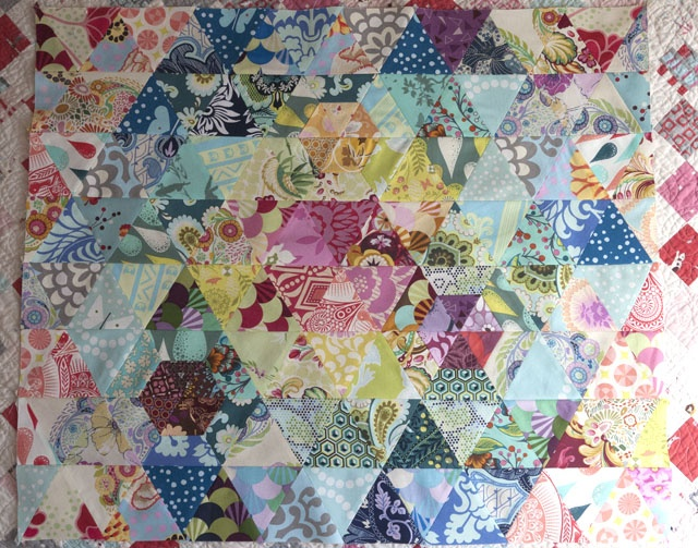 Pins and Bobbins quilt top using Anna Maria Horner's prisms pattern
