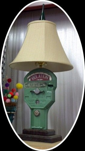 Vintage Parking meter repurposed into lamp for cottage style home decor or funky fun office; Upcycle, Recycle, Salvage, diy, repurpose! For flea thrift ideas and goods shop at Estate ReSale & ReDesign, Bonita Springs, FL