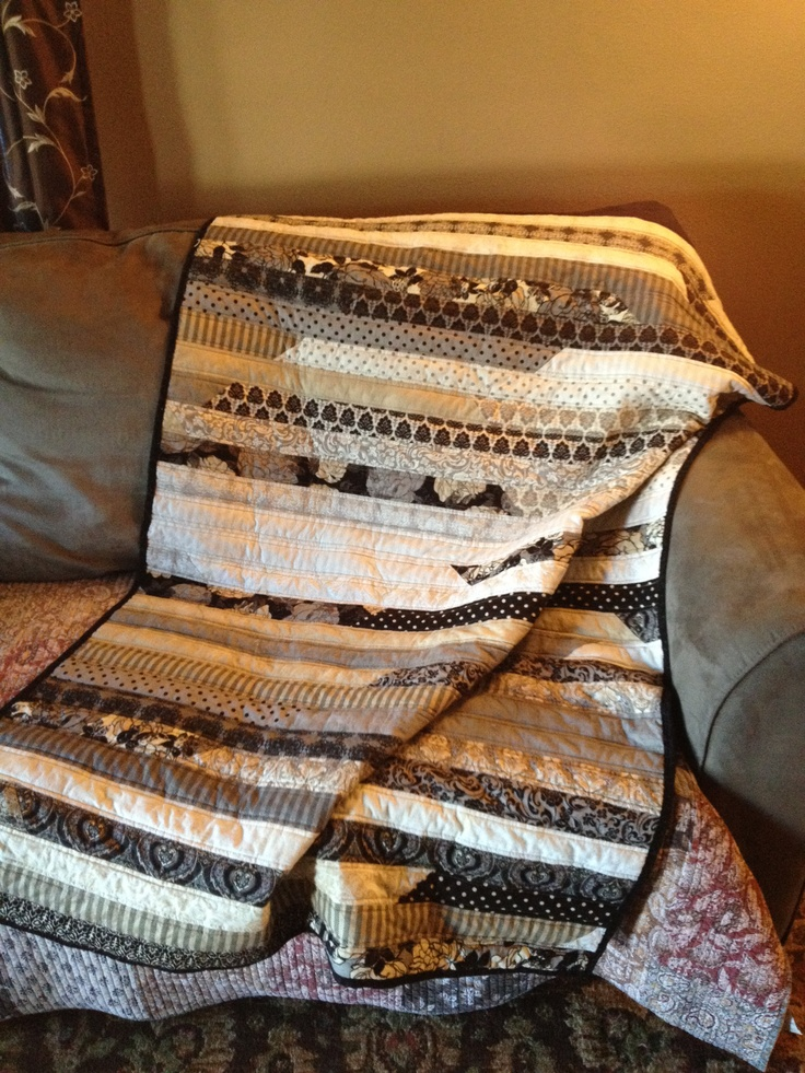 My first moda fabric in quot little black dress quot jelly roll quilt