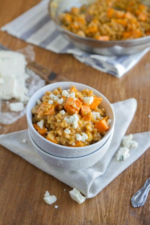 Naturally Ella | Sweet Potato and Gorgonzola Farro Risotto I added ...
