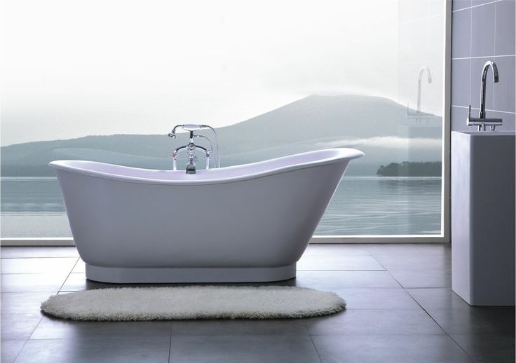 Bathtub Freestanding Solid Surface Bathtub Modern Soaking Tub A