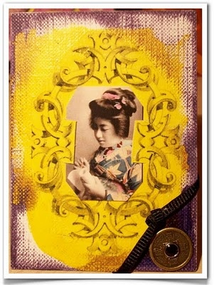 """Tutorial on how to make this cute little ATC of a geisha writing a letter on a scroll by Lisa Fulmer: """"I get most of my clip-art and imagery from the free samples available at Dover Publications."""""""