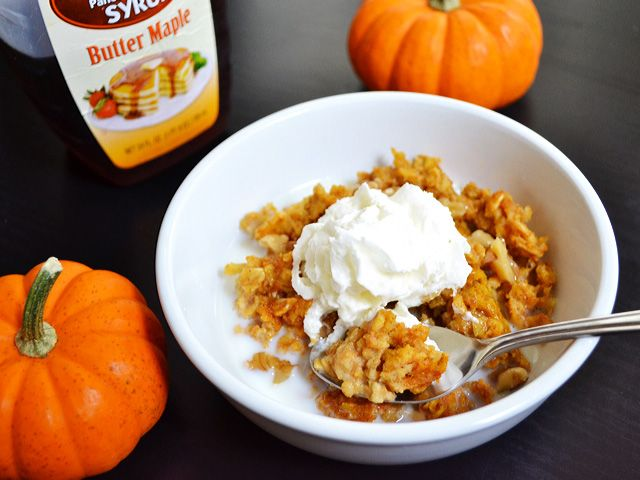 Pumpkin Baked Oatmeal - this was easy to make and DELICIOUS! I whipped ...