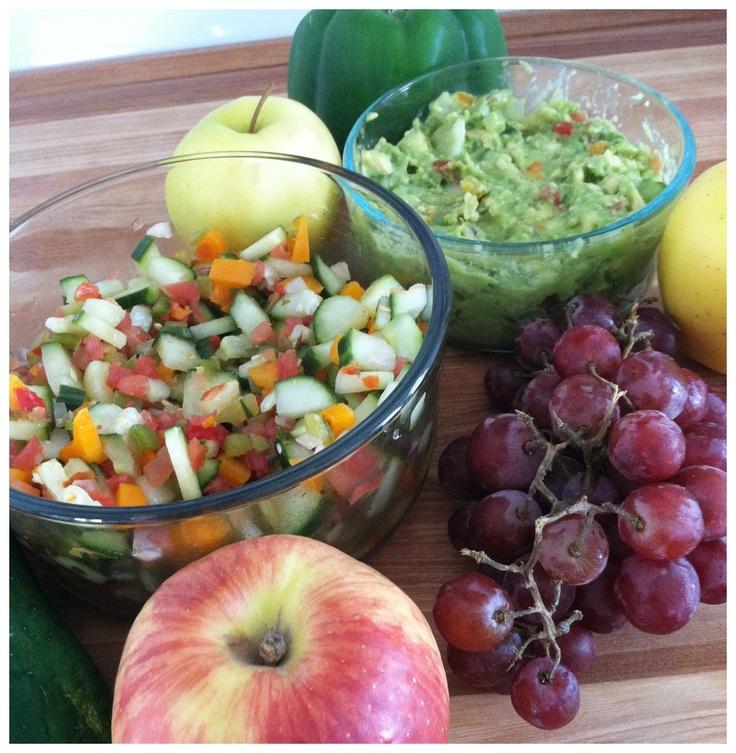 Salsa: chopped tomato, onion, orange bell pepper, jalapeño, cucumber ...