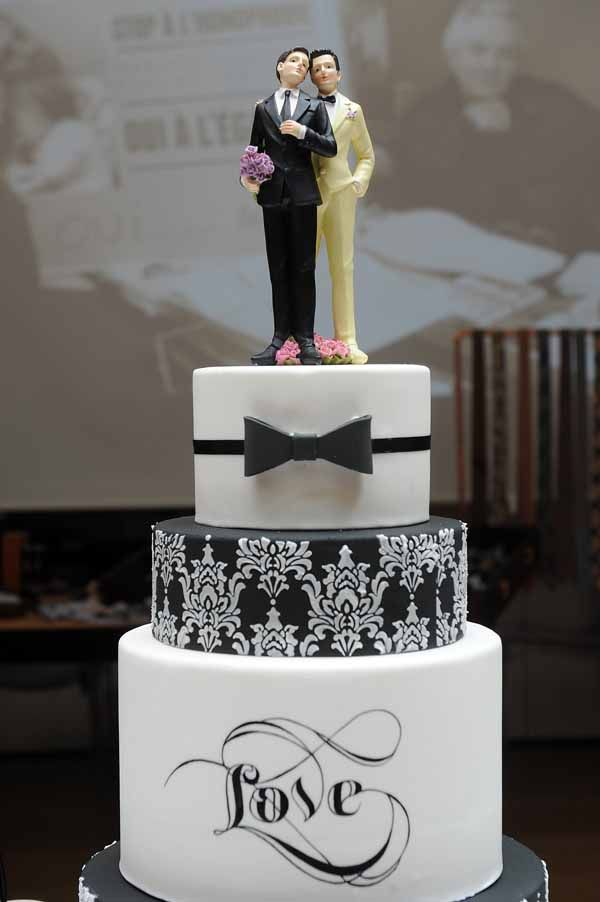 Wedding Cake With Gay Topper