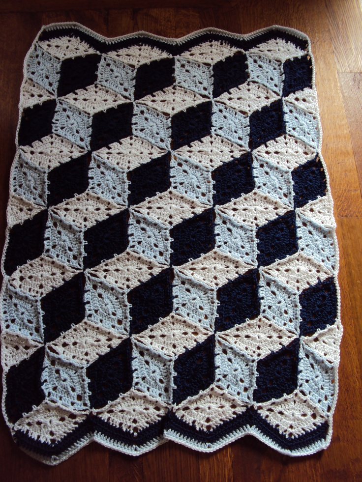 Tumbling blocks crochet baby blanket Quilt patterns to crochet ...