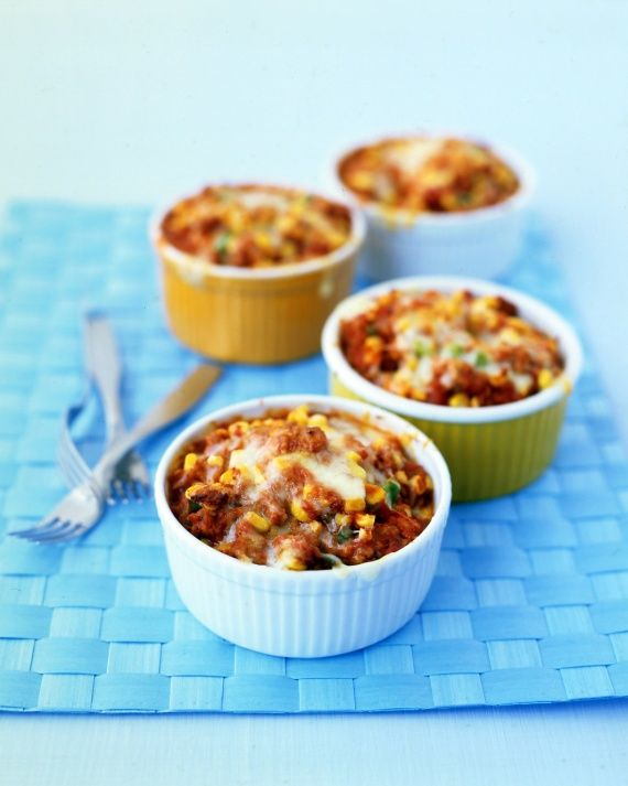 Tamale Pies - cumin spiced ground turkey, tomatoes, corn, cheese and a ...