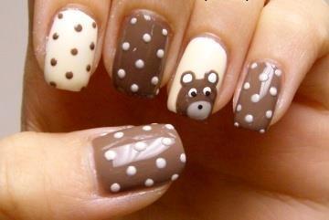 Polkadot Teddy Bear Nails