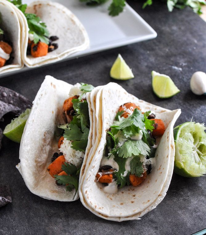 Smoky Sweet Potato and Black Bean Tacos with Chipotle Lime Crema | How Sweet It Is