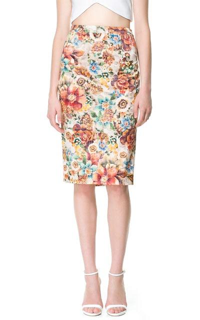 printed floral pencil skirt zara my style