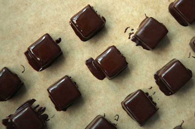 Chocolate-Dipped Salted Caramels Salted caramel with a snappy ...
