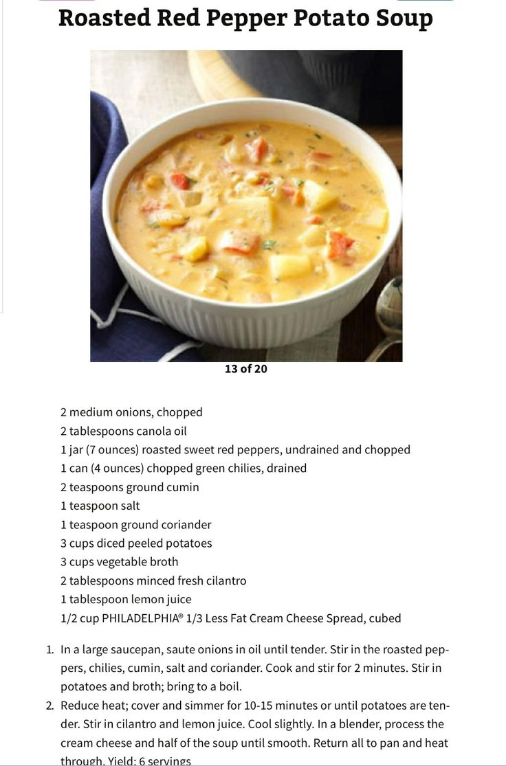 Roasted Red Pepper Potato Soup | Recipes | Pinterest