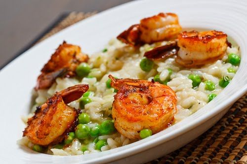 Fresh Pea Risotto with Spicy Grilled Shrimp | Recipe