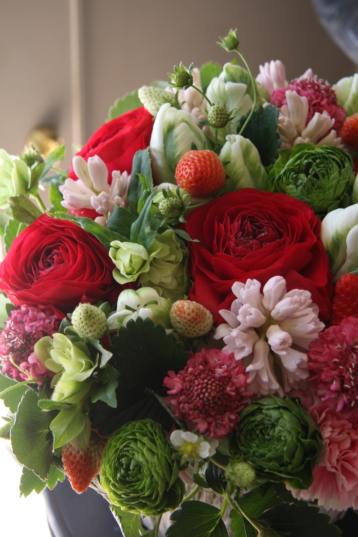 strawberry,ranunculus,tulip,hyacinth and scabiosa