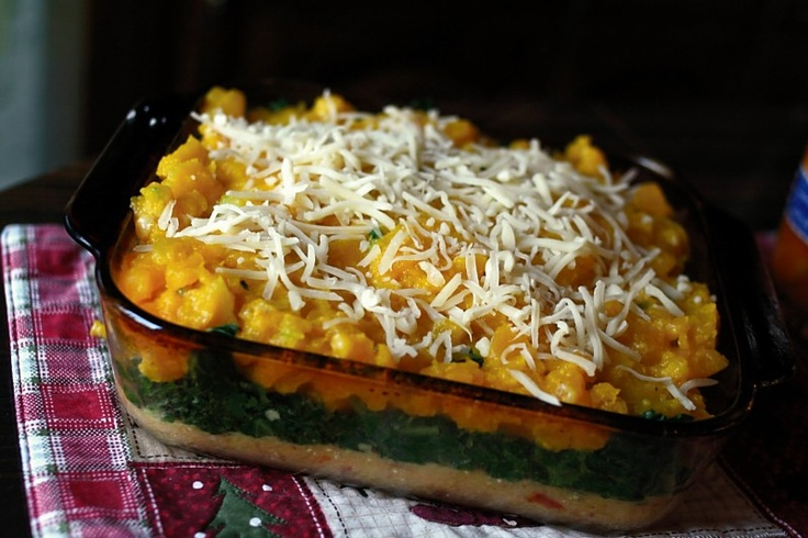 Polenta Casserole with Winter Squash and Greens- I would use butternut ...