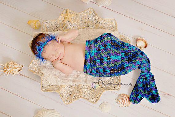 Baby Mermaid Cocoon Photo Prop  Newborn Ocean by pixieharmony, $26.95