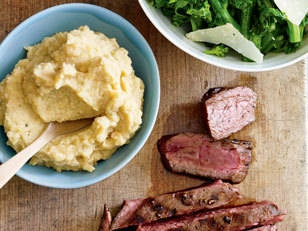 Balsamic-Glazed Flank Steak with Broccolini and Chickpea Purée - Your ...