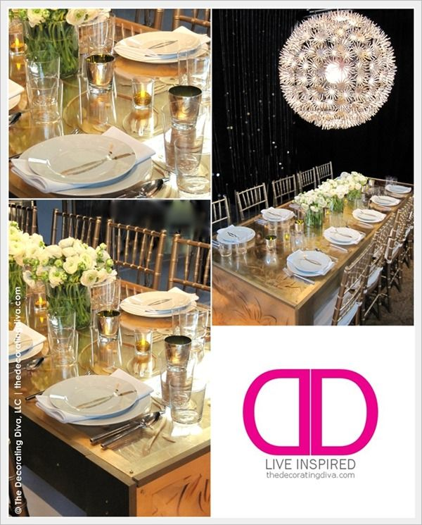Sublime Golden Glamour and Luxury: Dining Room & Table Decor | The Decorating Diva, LLC